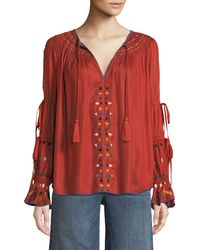 Red Carter - Embroidered Ladder-sleeve Blouse - Lyst