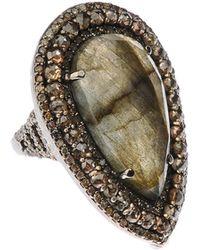 Bavna - Silver Teardrop Ring With Labradorite & Diamonds - Lyst