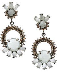 Bavna - Silver Drop Earrings With Champagne Diamonds & Multi-cut Aquamarine - Lyst