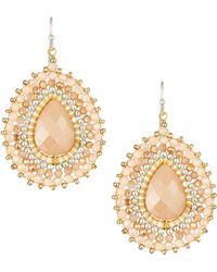 Nakamol - Layered Crystal Pear Drop Earrings Cream - Lyst