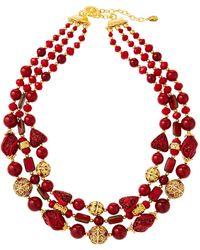 Jose & Maria Barrera - 3-strand Cloisonne Cinnabar Glass Necklace - Lyst