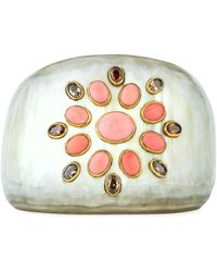 Ashley Pittman - Tapered Light Horn Cuff W/ Coral - Lyst