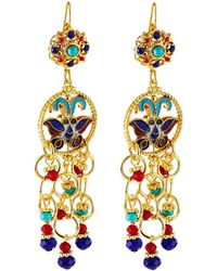 Jose & Maria Barrera Cloisonne Butterfly & Chain Earrings - Metallic
