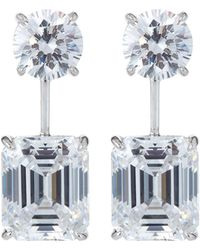 Fantasia by Deserio - Round & Asscher-cut Cz Double-drop Earrings - Lyst