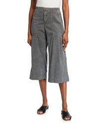 XCVI Flicker Wide-leg Cropped Twill Pants W/ Snap Detail - Green