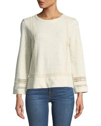 Lilla P - Crochet-trimmed Speckled Sweatshirt - Lyst