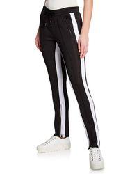 Sweet Romeo Striped Zip-detail Track Pants - Black