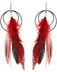 Nakamol - Long Double-circle Feather Drop Earrings - Lyst