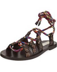 Valentino Santeria Lace-up Flat Leather Sandals - Brown