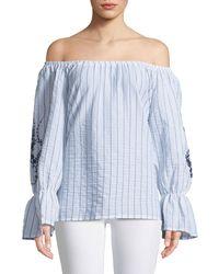XCVI - Isabel Off-the-shoulder Embroidered Blouse - Lyst