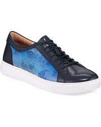 Robert Graham Men's Ornett Printed Leather Lace-up Sneakers - Blue
