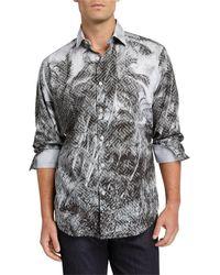 Bugatchi Men's Palm Tree Long-sleeve Sport Shirt - Gray
