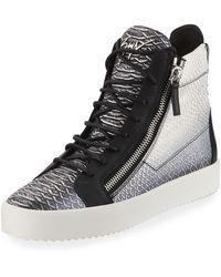 Giuseppe Zanotti - Men's Metallic Snake-print High-top Sneakers - Lyst