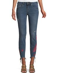 Dex - Feather-embroidered Raw-hem Skinny Jeans - Lyst