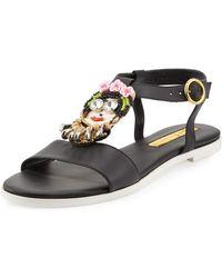 Rupert Sanderson Embellished Leather Sandals - Black