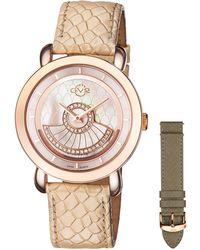 Gv2 - 40mm Catania Diamond Leather Watch Beige - Lyst