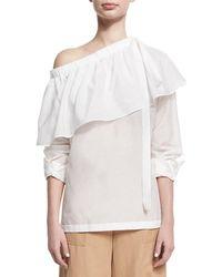 Robert Rodriguez Cotton-silk One-shoulder Ruffle Top White