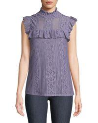 Neiman Marcus - Mock-neck Crochet Lace Blouse - Lyst