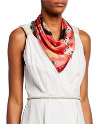 Karen Mabon Today Is Your Lucky Day Silk Scarf Red