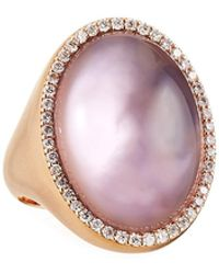 Roberto Coin 18k Rose Gold Satin Amethyst Oval Ring Size 6.5 - Pink