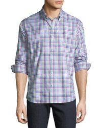 Neiman Marcus - Men's Regular-fit Twill Checkered Sport Shirt - Lyst