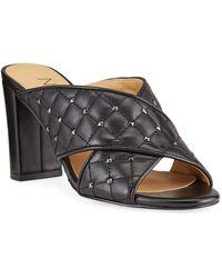 Neiman Marcus Bodile Studded Leather Crisscross Heel Sandals - Black