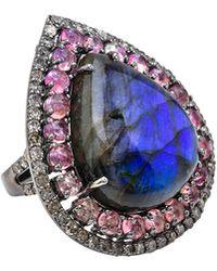 Bavna - Labradorite Pear Tourmaline & Diamond Ring Size 7 - Lyst