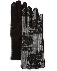 Neiman Marcus - Glen Plaid Embroidery Gloves - Lyst
