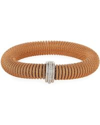 Alor - Kai Steel & 18k Gold Diamond Spring-coil Bangle - Lyst