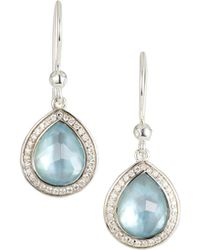 Ippolita Lollipop Mini Teardrop Diamond Earrings In Swiss Blue Topaz - Metallic