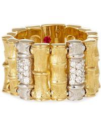 Roberto Coin - 18k Two-tone Diamond Bamboo Ring - Lyst