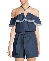 Laundry by Shelli Segal - Belted Chambray Cold-shoulder Romper - Lyst