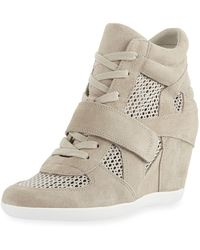 Ash Bowie Mixed Mesh Wedge Sneakers - Gray