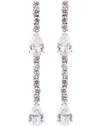 Fantasia by Deserio - Cz Round And Pear-cut Linear Earrings - Lyst