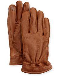 Neiman Marcus Deerskin Work Gloves - Brown