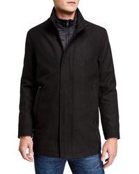 Marc New York Men's Barton Wool Melton Car Coat With Inset Nylon Bib - Black