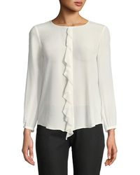 Joie - Nevara Long-sleeve Blouse With Ruffle - Lyst