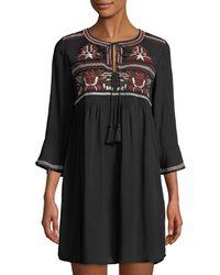 Haute Rogue - Elize Embroidered Boho Mini Dress - Lyst