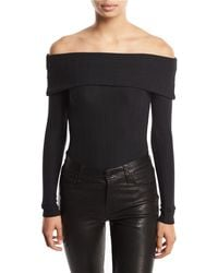 Romeo and Juliet Couture Ottoman-knit Off-the-shoulder Bodysuit - Black