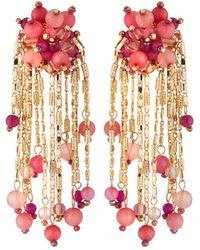 Lydell NYC - Beaded Chain Tassel Earrings - Lyst