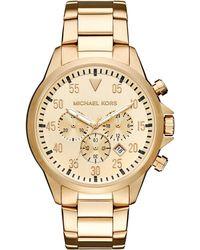 febc36d4fb5b MICHAEL Michael Kors - Men s 45mm Gage Chronograph Bracelet Watch Golden -  Lyst