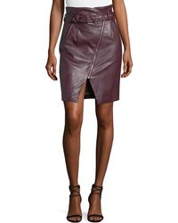 Romeo and Juliet Couture - Faux-leather High-rise Belted Pencil Skirt - Lyst