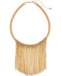 Lydell NYC - Golden Fringe Bib Necklace - Lyst