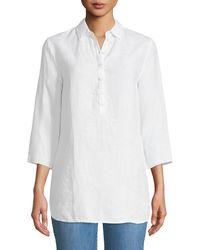 Three Dots - Half-button Linen Tunic - Lyst