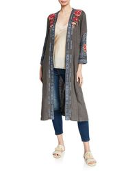 Johnny Was Davis Effortless Linen Kimono Jacket With Embroidery - Multicolor