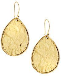 Nest - Brass Textured Teardrop Earrings - Lyst