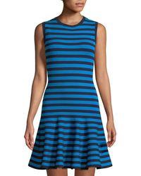 Michael Kors - Striped Flared Dress - Lyst