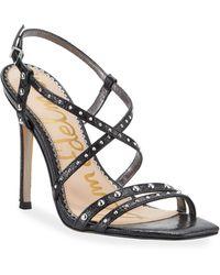 617d00869 Sam Edelman - Lennox Studded High-heel Leather Sandals - Lyst