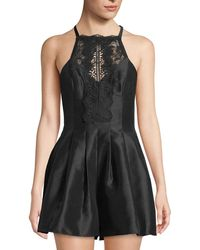 Free People - Lace-neck Two-pocket Pleated Satin Romper - Lyst