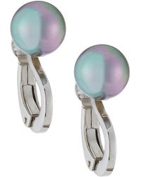 Majorica - Pearly Clip-on Earrings Gray - Lyst